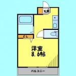 8.6帖のワンルームタイプ!(間取)