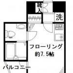 バス・トイレ別で独立洗面台付きの1R!(間取)