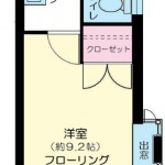2面採光で明るい角部屋の1K!(間取)