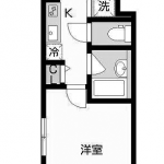 バストイレ別の1Kタイプ(間取)